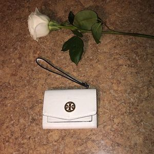 White Tory Burch Leather Wristlet Wallet